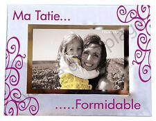 "Cadre photo ""Ma Tatie formidable"" à poser horizontal en verre idée cadeau neuf"