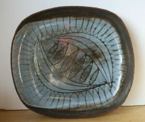 Vintage Large Marked Studio Pottery Blue Abstract Fish Bowl Platter (Hospiscare)
