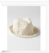 NWT BABY GAP GIRLS OFF WHITE SHIMMER CROCHET FEDORA HAT S/M 2 3 NEW twins ?