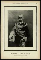 Assassinated Late Humbert I King of Italy portrait 1900 Harper's Weekly print