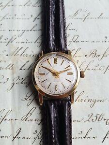 GUB Glashütte Kaliber 60.1 vergoldete Vintage Herren Armbanduhr Handaufzug 60er