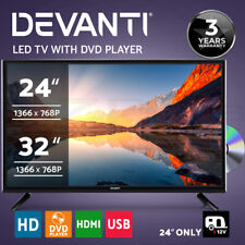 """Devanti LED TV 24 Inch 32 Inch 24"""" 32"""" Built-In DVD Player DC 12V Caravan Boat"""