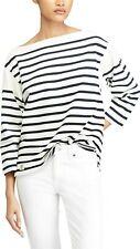 POLO Ralph Lauren Boatstripe Relaxed Fit Cotton Blouse Size L Black White