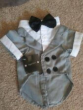 New listing Medium Pet Puppy Dog Costume Gray and White Apparel Tuxedo Wedding Suit Costume