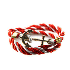 Women Men Multilayer Leather Handmade Rope Wristband Anchor Bracelet Bangle HOT