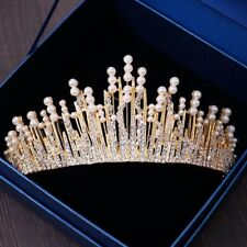 STUNNING GOLD CROWN/TIARA WITH CLEAR CRYSTALS & WHITE PEARLS, BRIDAL OR RACING