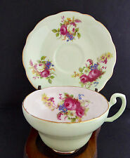 EB Foley Shelley Tea Cup Saucer 32014 Green Wide Floral Scalloped England Vtg