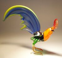 Blown Glass Figurine Art Bird Fighter ROOSTER with Blue and Yellow Fan Tail