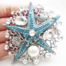 Elegant Blue Starfish Pearl Pendant Brooch Pin Rhinestone Crystal Silver Tone