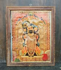 Antique Hindu Ritual Lord Sree Nath Ji With Peacock Print Framed
