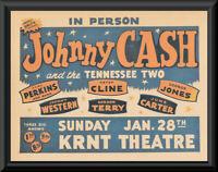 Johnny Cash & Patsy Cline Concert Poster Reprint On Original 1960s Paper *219