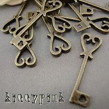 50 Antique Bronze 25mm Heart Key Charm Anniversary Wedding 18 21 birthday favour