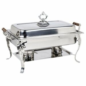 8 Qt. Full Size Stainless Steel Silver Buffet Catering Chafer Chafing Dish