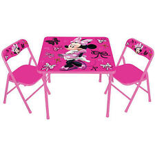 Disney Minnie Mouse Activity Folding Table and Padded Chair Set Girls Kids NEW