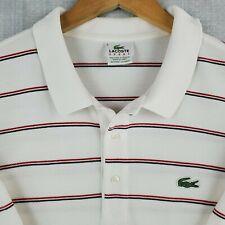 LACOSTE SPORT Size 9 3XL Mens Polo Shirt Short Sleeve White Striped Cotton Golf