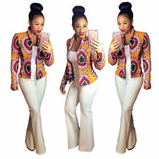 Womens Ladies Long Sleeve Formal Coats African Print Dashiki Short Casual Jacket Red XL