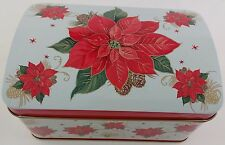 7a40cdd2e863e Set of 2 Christmas Design Large and Small Hinged Tin Boxes Theme Choices  Poinsettia