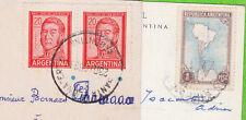 lot de 2 CP - ARGENTINE - 3 timbres dont 1 paire