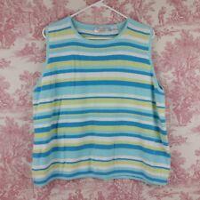 Envision Avenue Tank Top Size 2X Loose Knit Striped Sleeveless Blue White Yellow