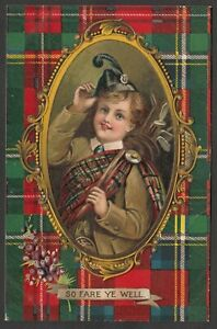 Postcard Scottish Tartan golf clubs bag Scotland early embossed So Fare Ye Well