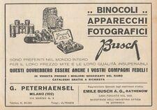 Z1856 Apparecchi Fotografici BUSCH - Pubblicità d'epoca - 1929 Old advertising