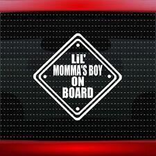 Lil Mommas Boy On Board Family Car Decal Window Sticker Baby Mom Dad 20 COLORS!