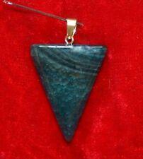 PENDENTIF AGATE VERT BLEU  forme pointe de Flêche 4 x 3 cm  Pierre Polie