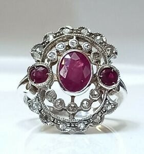 Vintage Ruby & Old Cut Diamonds  dress/Cocktail Ring