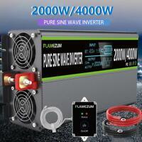Pure Sine Wave Inverter 2000W 4000W 12V To 240V 2 USB & LCD Camping Caravan Trip