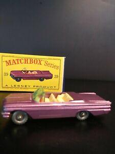 Matchbox Lesney #39 Lilac Pontiac Convertible In Original D Type Box. VM