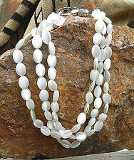 White Moonstone 3 Strand 14mm Beads & Large Sterling Lobster Clasp Necklace 16""