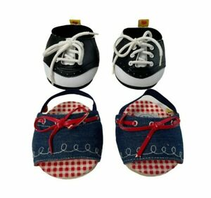 Build A Bear Workshop Lot of 2 Pairs Shoes BW Saddle Oxfords Denim Sandals NEW