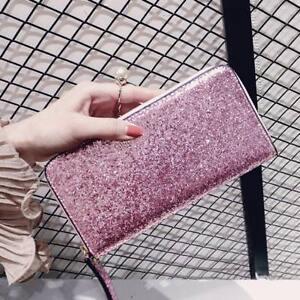 New Lady Party Card Holder Long Clutch Zipper Purse Glitter Women Wallet Sequin