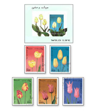 KASAFG97042 Tulips 5 STAMPS CANCELED AND BLOCK MNH AFGANISTAN 1997