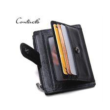 Men Genuine Leather Business Credit Card Case ID Pocket Slim Mini Wallet Holder