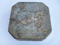 Vintage Retro Embossed Tin - Flying Birds  Great Subject and Patina