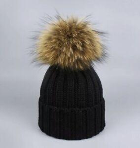 children Hat Winter Warm Fur Pom Pom Fur Knitted Hat