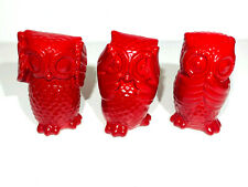 Set of 3 - Wise Owls  - RED