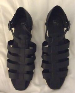 Wittner Size 42 Black Leather Flat Scrappy Sandals