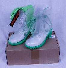 New Woman's Clear Transparent Neon Green Martin Rain Boots w/Heel- Green w/Socks