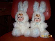 Vtg Porcelain Rabbit Bunny Face Stuffed Animal Doll Plush Teddy Bear