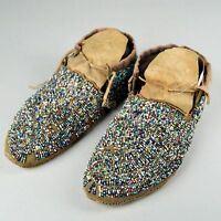"Antique Native American Intricately Beaded Moccasins 9"" Long Cheyenne circa 1890"