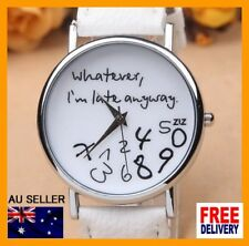 Men Women Leather Strap Casual Quartz Watch Whatever I am Late Anyway Wristwatch