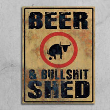 Beer Bullsh*t shed Metal Signs plaque rusty retro style grunge bar beer mancave