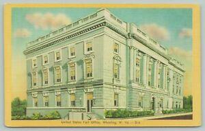 Wheeling West Virginia~United States Post Office~1940s Linen Postcard