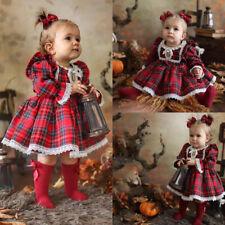 UK Xmas Toddler Kid Baby Girls Christmas Pageant Bow Tutu Dress Princess Clothes