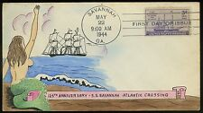 "US, #923  - HANDPAINTED NUDE WEIGAND First Day Cover CACHET ""ATLANTIC CROSSING"""