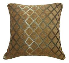 Wd37Ba Brown Damask Chenille Check Throw Cushion Cover/Pillow Case Custom Size