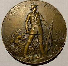 Rare Original Ww1 Capture Of Vimy Ridge Large Bronze Canadian Table Medal Canada