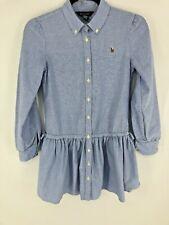 RALPH LAUREN POLO Blue Long Sleeve 3/4 Sleeve Shirt Dress Drop Waist Size 12